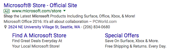 AdWords Ad with Call Extension